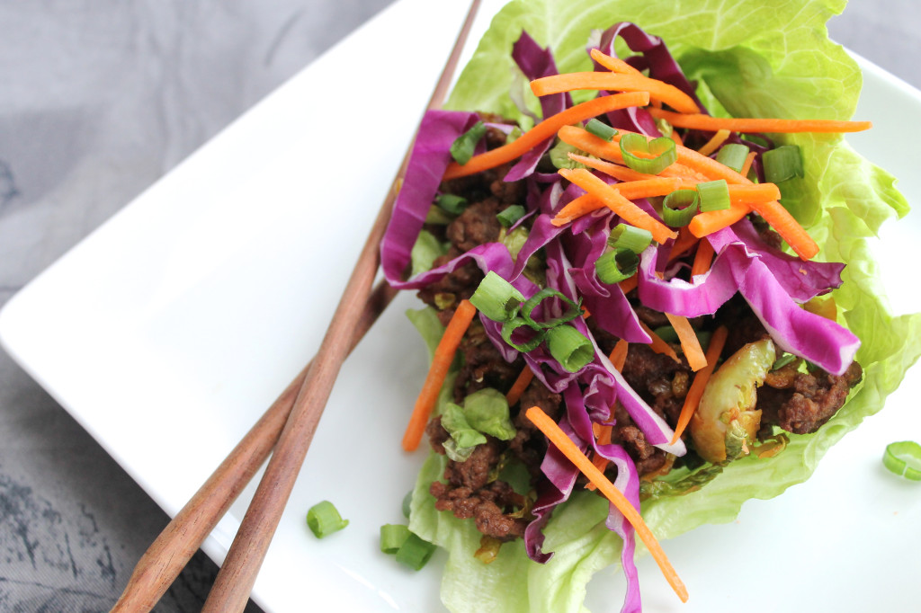 Asian Ground Beef and Veggie Lettuce Wraps