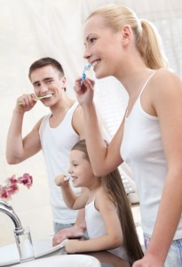 family-brushing-teeth-habit
