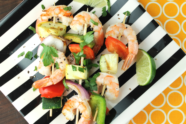 Grilled Shrimp and Veggies on a Stick