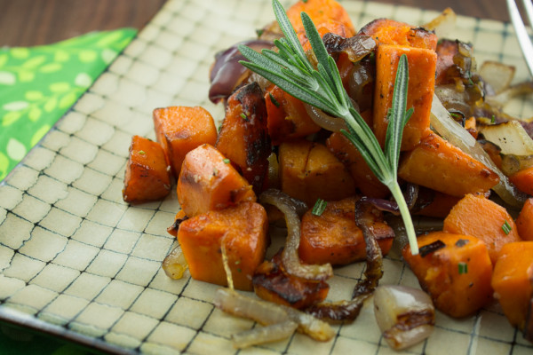 Roasted Squash with Red Onion and Rosemary