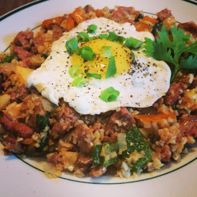 chorizo-rice-with-fried-egg