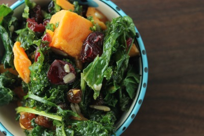 Warm Roasted Sweet Potato and Kale Salad