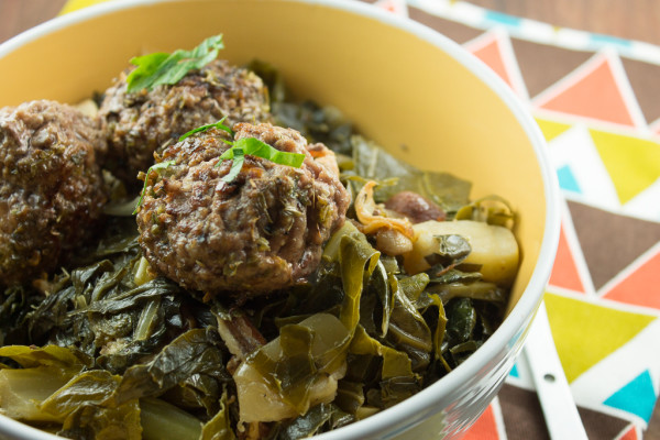 Herb Crusted Beef and Offal Meatballs with Braised Greens