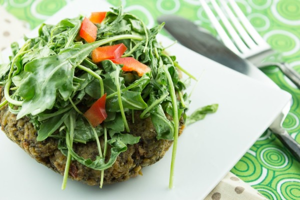 Mediterranean Beef and Liver Burgers with Wilted Arugula