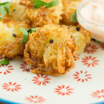 Mini Parsnip Cakes with Creamy Buffalo Dip
